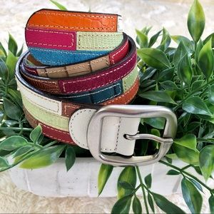 Patchwork leather belt Orange blue green red small